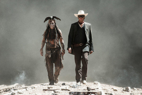 Johnny Depp as Tonto and Armie Hammer as The Lone Ranger.