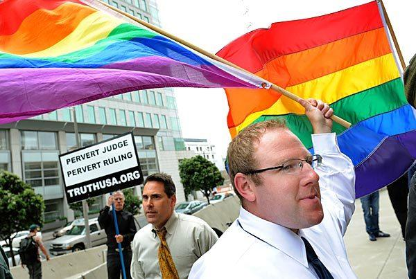 Proposition 8 opponents celebrate outside the Phillip Burton Federal Building in 2010.