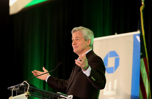 Jamie Dimon, chief executive and chairman of JPMorgan Chase & Co., speaks at the South Florida Economic Summit in Miami.