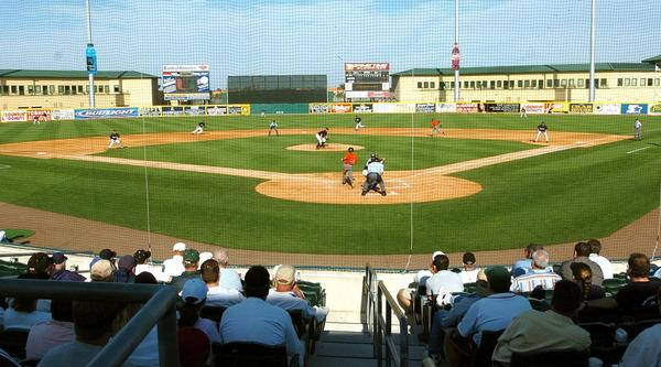(sf) marlinspix01e-- A good crowd was in attendance on a beautiful day for baseball as the Florida Marlins opened their Spring Training schedule against the Miami Hurricanes at Roger Dean Stadium in Jupiter, Fl. on Tuesday, March 1, 2005. Staff photo/Scott Fisher. ORG XMIT: 0007136F