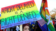 WASHINGTON — The Supreme Court justices sounded closely split on gay marriage Tuesday, but Justice Anthony M. Kennedy suggested the court should strike down California's ban on same-sex marriage without ruling broadly on the issue.