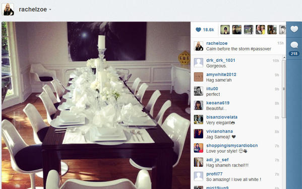 Rachel Zoe shows off her Passover table.