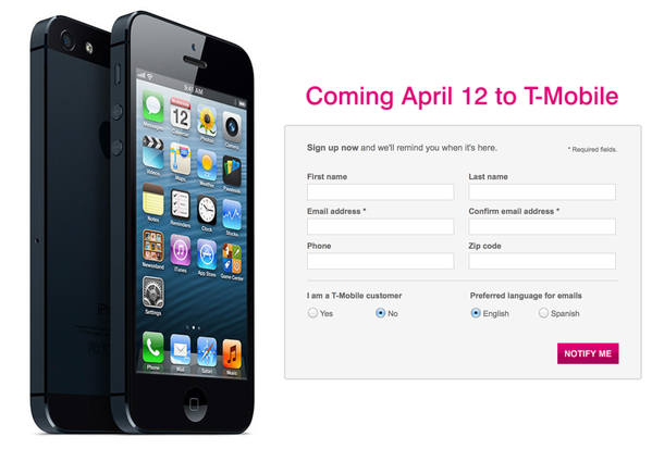 T-Mobile said it will start selling the iPhone on April 12.