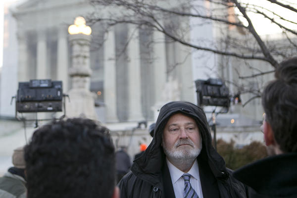 Actor-director Rob Reiner stands in line waiting to enter the U.S. Supreme Court in Washington on Tuesday.