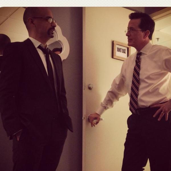 Junot Diaz backstage with Stephen Colbert.