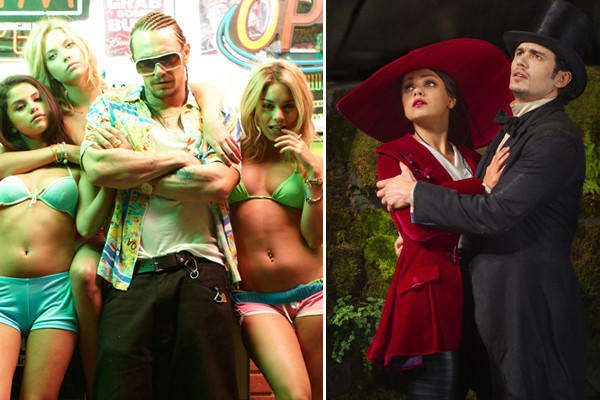 James Franco in 'Spring Breakers,' left, and 'Oz.''