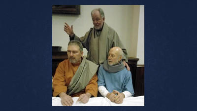 "Mark Duppstadt, Bill Wildenmann and Richard Duppstadt are shown preparing for their roles in ""The Last Supper"" drama to be presented Thursday at St. Mark Lutheran in Shanksville."