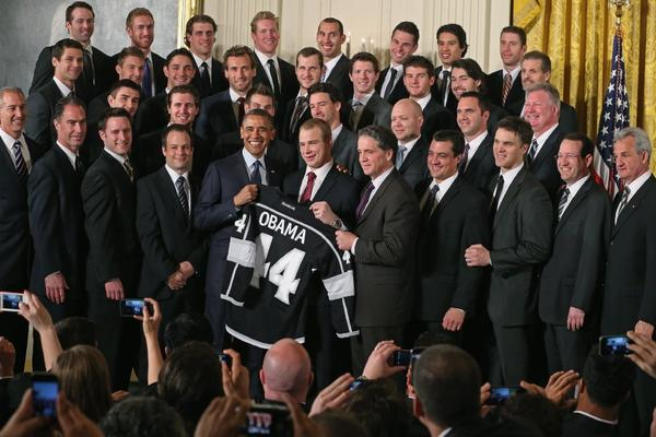 President Obama poses with the Kings in the East Room of the White House.