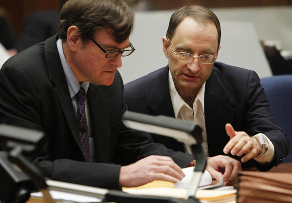 Christian K. Gerhartsreiter, right, with attorney Brad Bailey during a recent court hearing in the ongoing murder trial.