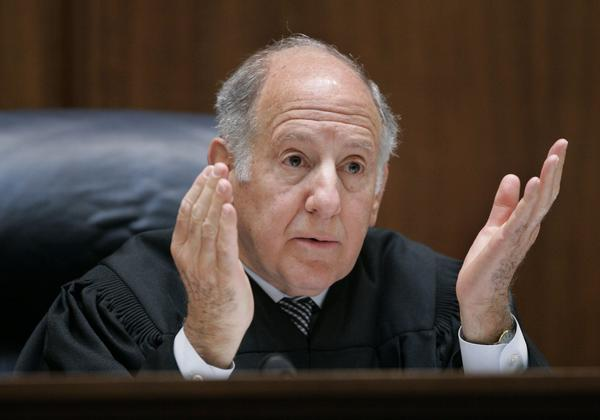 California Supreme Court Chief Justice Ronald M. George during a March 4, 2008, hearing on the state's original same-sex marriage ban.