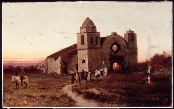 """Carmel Mission on San Carlos Day, 1875"" by Julies Tavernier, which is part of the Huntington's exhibition."