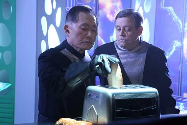 "On ""The Neighbors"" George Takei, left, and Mark Hamill guest star in the comedy's season finale"