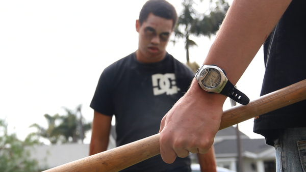 EJ Jogwe portrays a zombie in a frame from the film by Newport Harbor High School senior Tyler Carlin. The comedy is vying for a top spot at the inaugural Newport Mesa Film Festival featuring student work.
