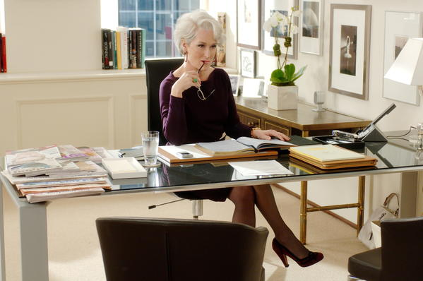 "Even financially successful women fear becoming bag ladies, a new study says. Above, Meryl Streep stars as Miranda Priestly, the high-wattage magazine editor in the movie ""The Devil Wears Prada."""