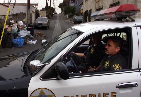 L.A. County sheriff's Deputies Oscar Barragan and Ron Navarrete patrol in the City Terrace area.