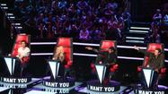 "Adam Levine, Shakira, Usher, Blake Shelton on ""The Voice."""