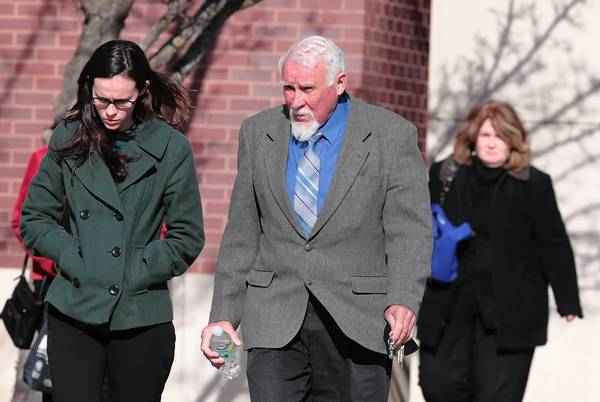 William Carrick, the father of Brian Carrick, leaves the retrial of a man in his son's disappearance and presumed death. Testimony began Tuesday in the McHenry County Government Center in Woodstock.