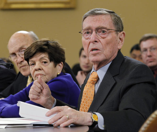 Alice Rivlin, a distinguished budget expert at the Brookings Institution, in 2011, flanked by former Sens. Alan Simpson (R-WY) and Pete Domenici (R-NM).