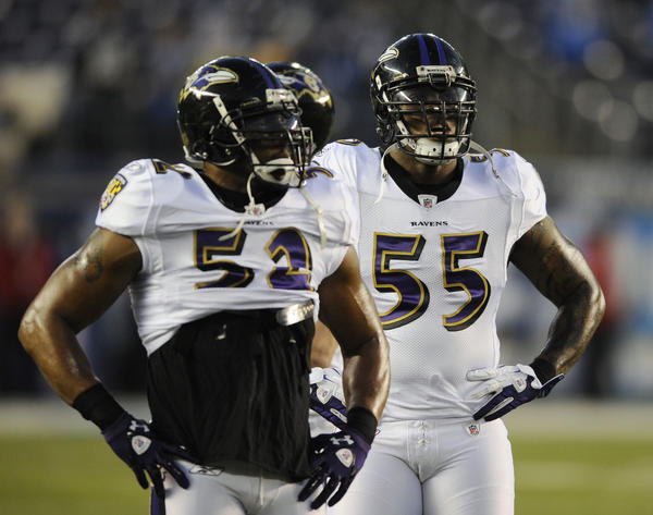 Ray Lewis and Terrell Suggs wait for the next snap.