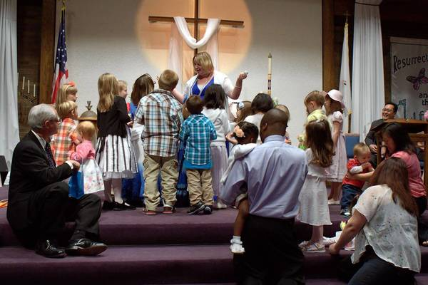 Easter services in 2012 at Faith United Methodist Church in Orland Park, which evolved from the merging of a Midlothian and an Oak Forest Methodist church. Those two churches then joined an Orland Park Methodist church.