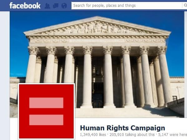 The Facebook page of Human Rights Campaign on Tuesday showed the Supreme Court as the organization's cover image and the red equal sign as its profile picture.