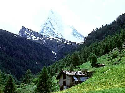 Views of the Matterhorn have been known to stir the mountain climber in many tourists. Though surrounding peaks may seem forbidding, they are surprisingly accessible by a network of railways, lifts and cable cars.