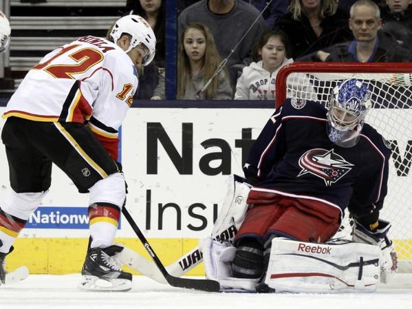 Calgary's Jarome Iginla has his shot stopped by Columbus goalie Sergi Bobrovsky in a game earlier this season.