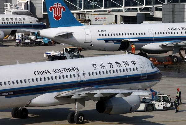 China Southern airplanes at Shanghai Pudong International Airport.