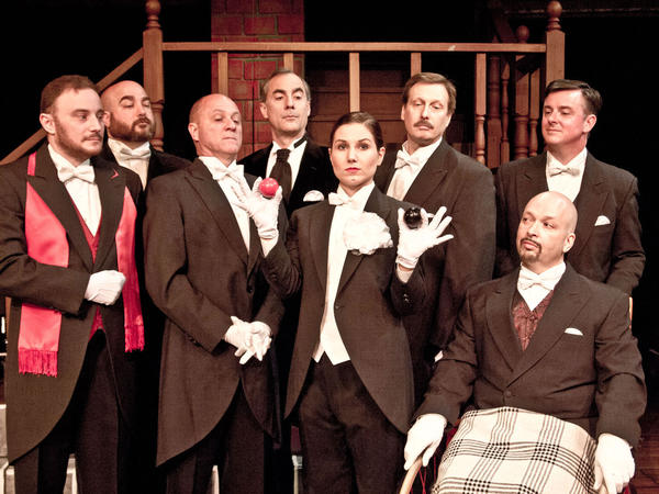 "David Strauss (from left) Charlie Porter, Jeff Hole, Tim DeBaun, Monica Titus, Dean Walkuski, John Palmer and Russell R. Trahan star in ""Sherlock Holmes and the Adventure of the Suicide Club."""