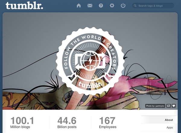 "Tumblr's ""About"" page shows that more than 100 million blogs now exist on the popular social network."