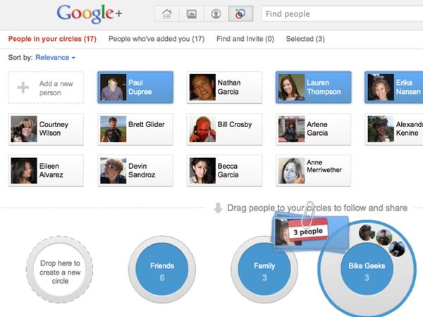 A screen shot of the Google Plus social network is shown in this publicity photo released to Reuters June 28, 2011.