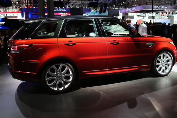 The new Land Rover Sport is displayed at the 2013 New York International Auto Show on Wednesday.