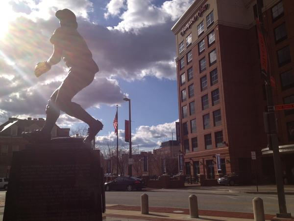 The Hampton Inn, shown here behind the Brooks Robinson statue, will host the Deck at Camden Yards, a new outdoor beer garden.