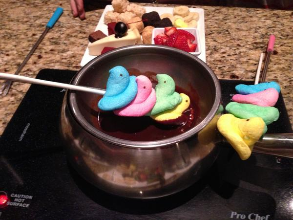 Dip Peeps in chocolate fondue for a special Easter treat at Melting Pot in Bethlehem.