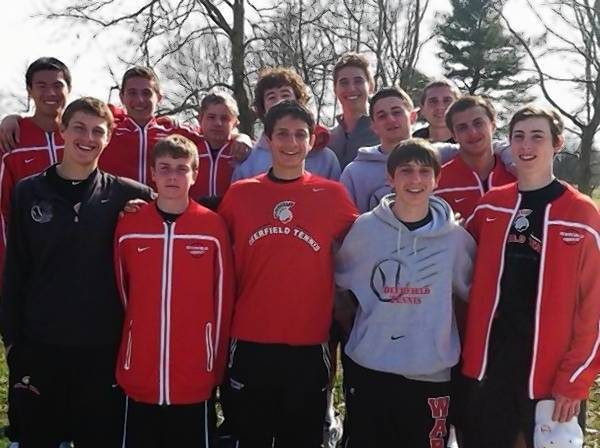 Deerfield boys tennis players pose during their trip to Louisville, Ky., where they finished eighth out of 16 teams in a tournament filled with national powerhouse teams.