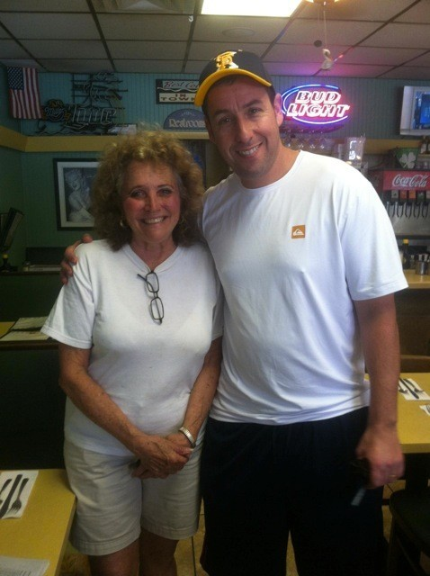 Celeb-spotting around South Florida - Adam Sandler with Becky (Server) at Country Ham N