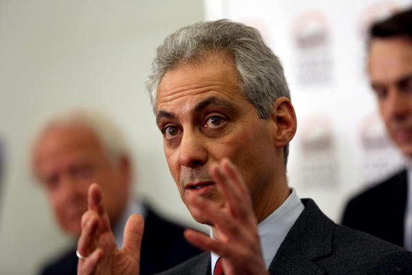 Mayor Rahm Emanuel during a press conference with Coeur Mining Wednesday where he was also grilled about the school closing plan.
