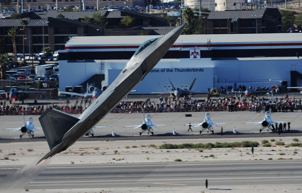 An F-22 Raptor performs during the 2010 Aviation Nation Nellis Open House.