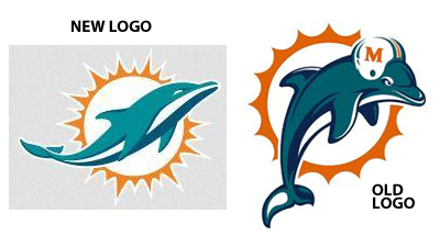 The new Miami Dolphins logo side-by-side with the team's old logo.