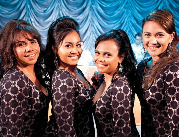 "Deborah Mailman as Gail, Jessica Mauboy as Julie, Miranda Tapsell as Cynthia, Shari Sebbens as Kay in ""The Sapphires."""
