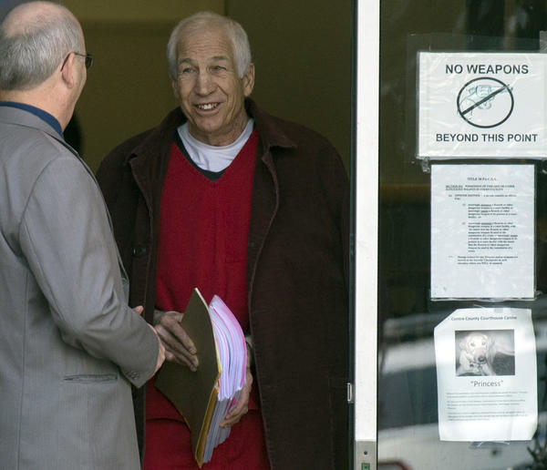 Jerry Sandusky leaves after a hearing on his post sentence motions at the Centre County Courthouse in Bellefonte on Thursday.