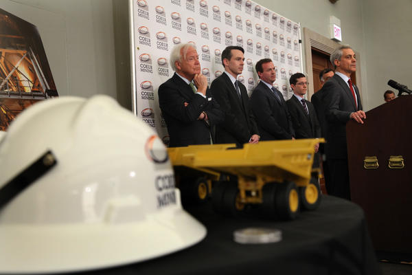 Mayor Rahm Emanuel, along with representatives from the State of Illinois and Coeur Mining, talk about Coeur's decision to move their headquarters to Chicago.