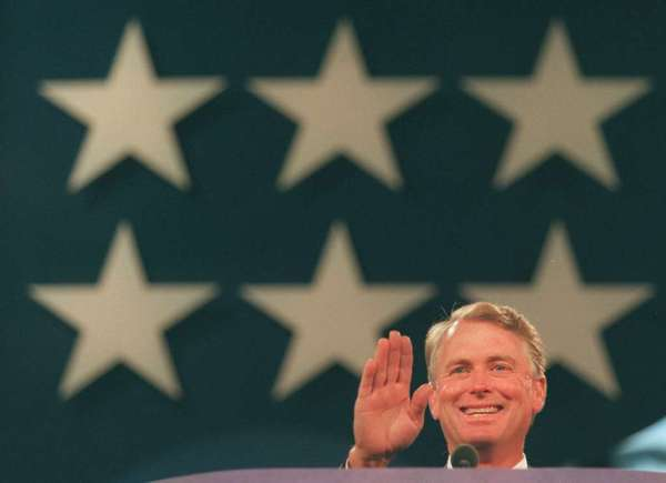 Vice President Dan Quayle performs a microphone check at the 1996 Republican National Convention in San Diego.