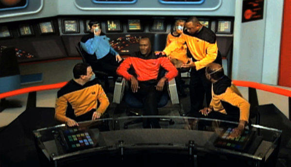 "This image from an Internal Revenue Service video shows IRS employees portraying ""Star Trek"" characters in a video parodying the TV show that was made for a 2010 IRS training and leadership conference."