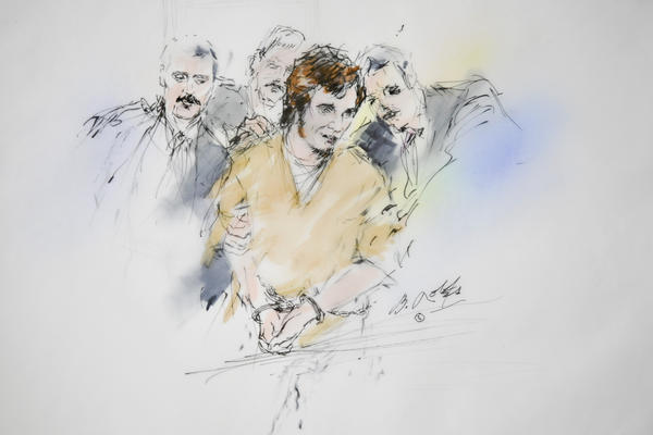 Jared Loughner, pictured in a May 2011 artist's rendering, pleaded guilty last year in the shooting rampage that killed six.