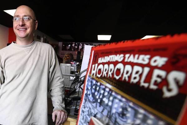 John Aranza, owner of Horrorbles, a horror shop in Berwyn.