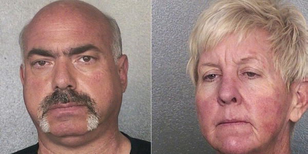 Steven Goldstrom, 56, and former Fort Lauderdale Vice Mayor Cindi Hutchinson in their booking mugs. BSO, Handout