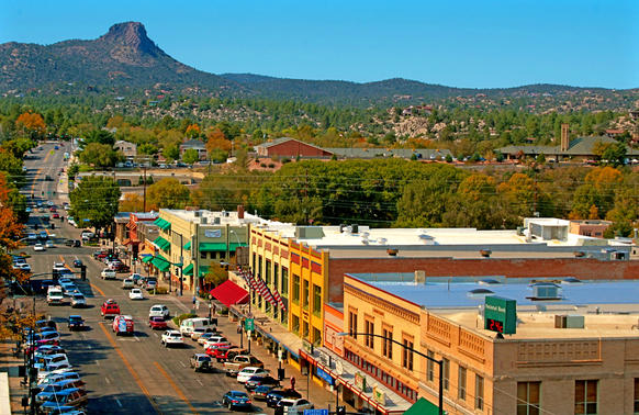 A view of Gurley Street in Prescott, Ariz., with Thumb Butte in the distance. Prescott, about 90 miles northwest of Phoenix, is becoming a desirable retirement haven, although it's more notable for its long-running rode