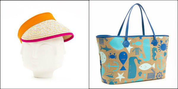 Jonathan Adler's expansion into accessories includes an orange and fuchsia contrast brim visor (left, $68) and a tote festooned with images of sea life ($198).