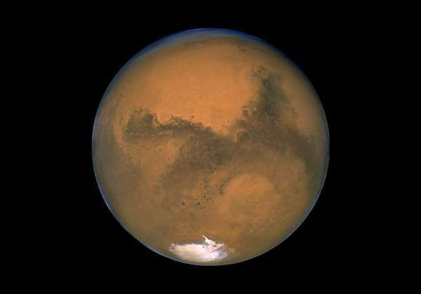 Mars, as photographed by the Hubble Space Telescope in 2003.